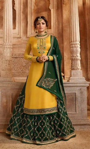 Yellow Satin Georgette Sharara Salwar Kameez With  Dupatta