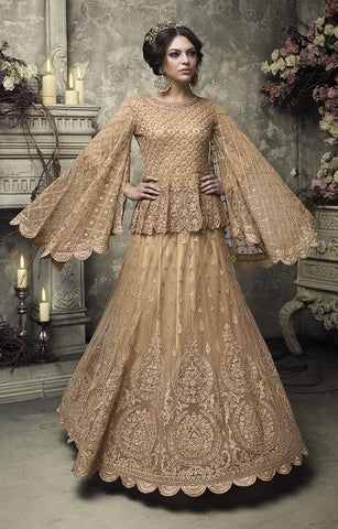 Bell Sleeves Heavy Embroidered Golden Beige Net Anakrali And Abaya Style Dress