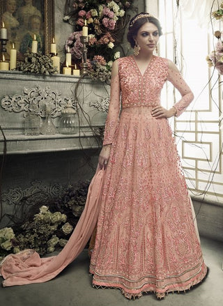 Peach Off Shoulder Backless Embroidered Anarkali Type Dress With Jacket And Dupatta