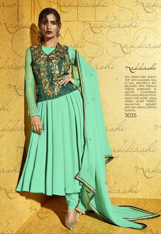 Cyan,Georgette,Heavy designer party wear anarkali suits