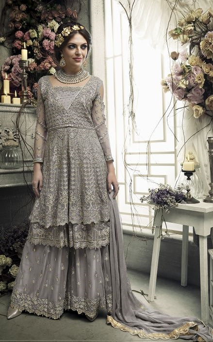a41ad3608d7 Grey Silver Sharara Style Heavy Embrodiered Cold Shoulder Dress With Dupatta