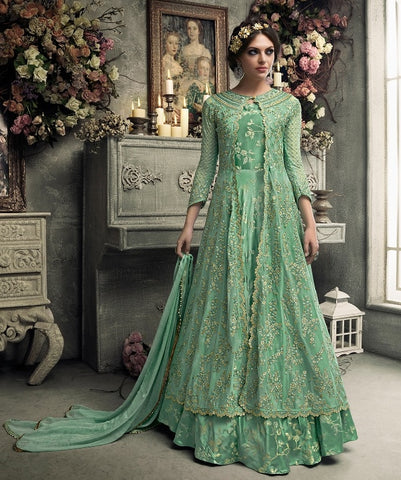 Aqua Green Heavy Embroidered Abaya Style Gown Style Anarkali With Dupatta