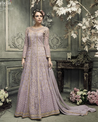 Purple Heavy Embroidered Abaya Style Gown Style Anarkali With Dupatta