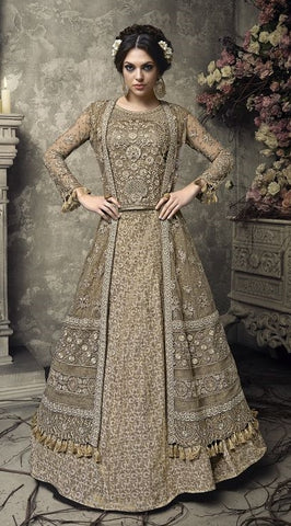 Golden Beige Front Slit Heavy Embroidered Abaya Style Gown Style Anarkali With Dupatta