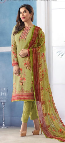 Green Georgette Printed Suit With Green Dupatta