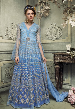 Blue Bell Sleeves Embroidered Net Abaya Style Anarkali Gown With Dupatta