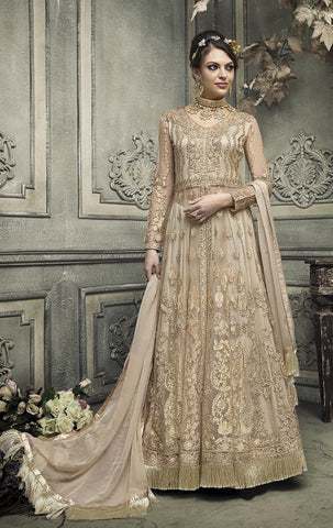 Golden Beige Front Slit Heavy Embroidered Net Abaya And Gown Style Anarkali