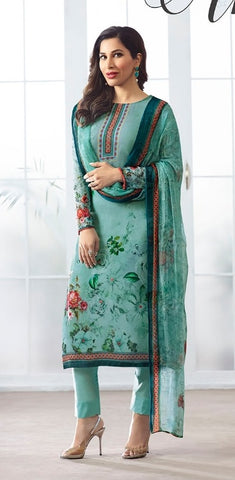 Blue Georgette Printed Salwar Suit With Blue Dupatta