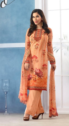 Orange Georgette Printed Salwar Kameez With Orange Dupatta