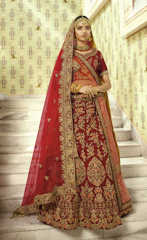 Bridal Red Lehenga In Heavy Embroidery With Velvet Choli And Red Net dupatta