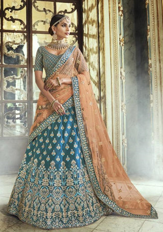 Blue Silk Party Wear Lehenga With Orange Dupatta