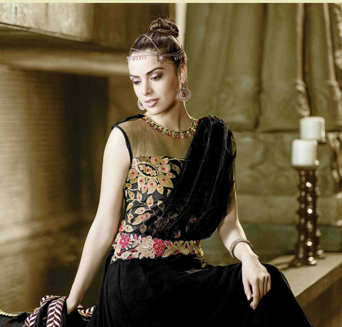 Designer long black anarkali semi stitched suits