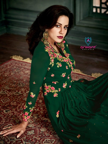 Dark Green Embroidery Suit With Dupatta