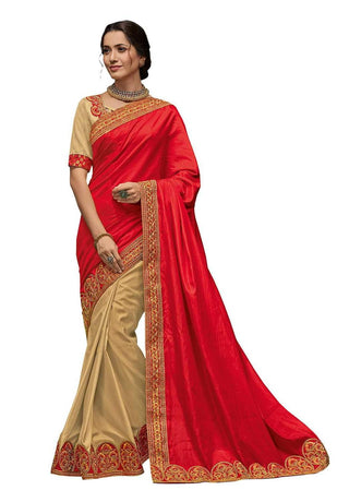 Red And Gold Poly Silk Party Wear Saree With Gold Blouse