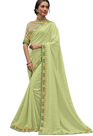 Lemon Green Poly Silk Party Wear Saree With Gold Blouse