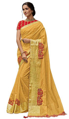 Yellow Poly Silk Party Wear Saree With Red Blouse