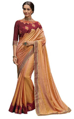 Peach Poly Silk Party Wear Saree With Maroon Blouse