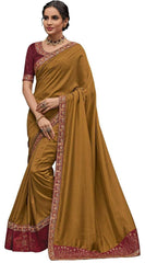 Golden Olive Poly Silk Party Wear Saree With Maroon Blouse