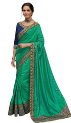 Green Poly Silk Party Wear Saree With Blue Blouse