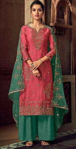 Pink Tussar Silk Party Wear Salwar Kameez With  Dupatta