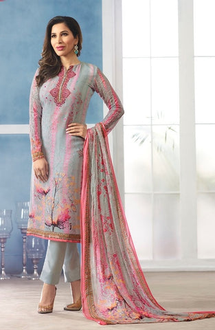 Grey Georgette Printed Salwar Suit With Grey Dupatta