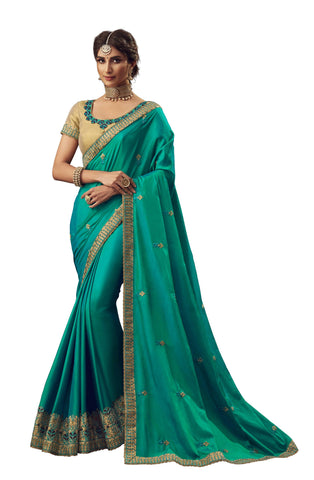 Green Poly Silk Party Wear Saree With Gold Blouse