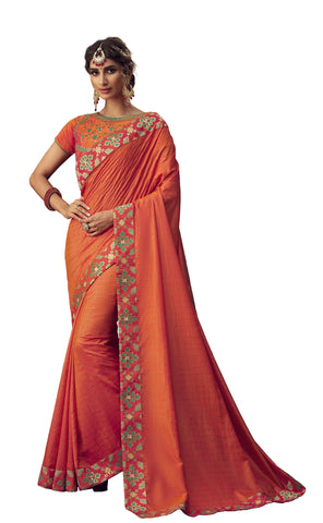 Orange Poly Silk Party Wear Saree With Orange Blouse