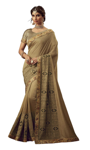 Gold Poly Silk Party Wear Saree With Gold Blouse