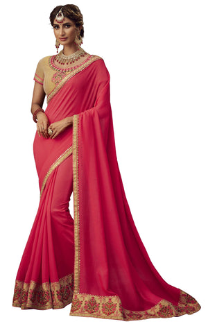 Red Poly Silk Party Wear Saree With Gold Blouse
