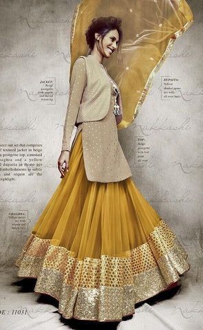 Suits Yellow , Beige,Georgette