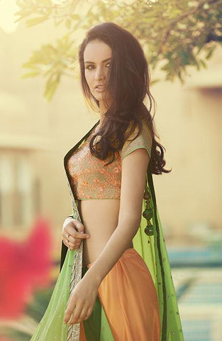 Green and Orange net saree with embroidery