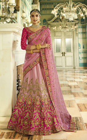 Pink Silk Velvet Lehenga With Heavy Embroidery Velvet Blouse With Heavy Border Dupatta