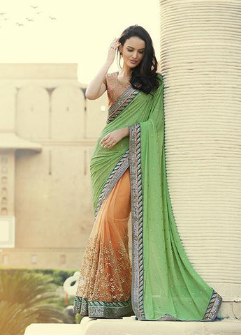 Saree Green , Orange,Georgette