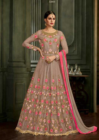 Beige Silk Party Wear Anarkali Suit With Beige Dupatta