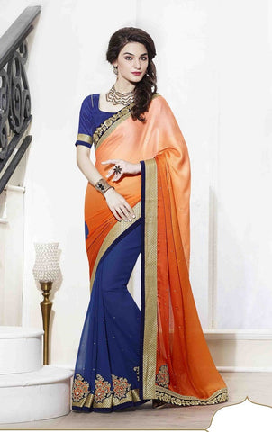 Saree Orange,Georgette