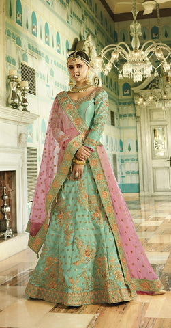Green Silk Velvet Lehenga With Heavy Embroidery With Choli And Dupatta