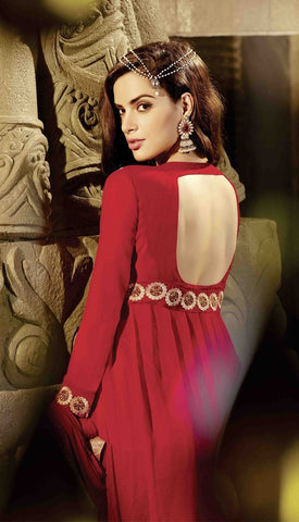 Red floor length anarkali semi stitched suits with chiffon dupatta