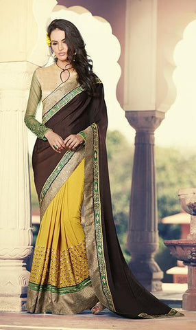 Saree Brown , Yellow,Georgette