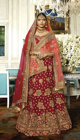 Bridal Silk Velvet Red Maroon Lehenga With Heavy Embroidery And Velvet Choli With Net Dupatta