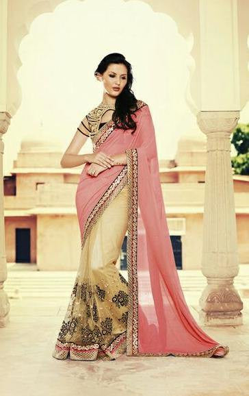 ba33b7cea1 ... Golden Net Fabric Saree with embroidery. Saree Pink , Beige,Georgette