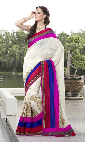 White Cotton Saree with embroidery and handwork
