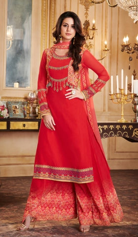 Red Georgette Straight Salwar Suit With  Dupatta