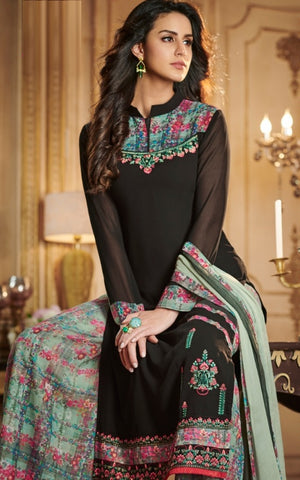 Black Georgette Straight Suit With  Dupatta