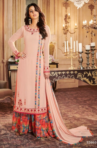 Pink Georgette Straight Salwar Kameez With  Dupatta