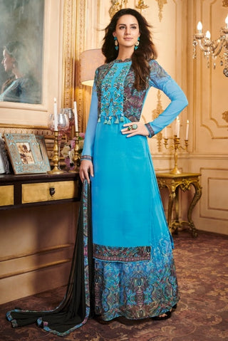 Blue Georgette Straight Suit With  Dupatta