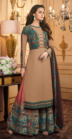 Brown Georgette Straight Salwar Suit With  Dupatta