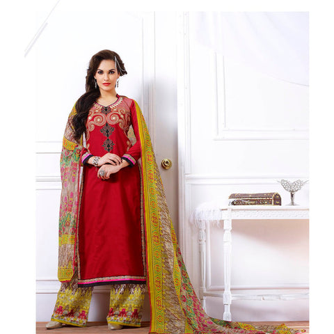Designer straight knee length red salwar suits with printed green dupatta