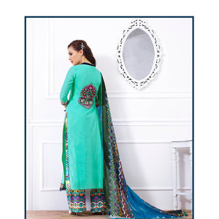 Green designer semi stitched long salwar suits with printed dupatta