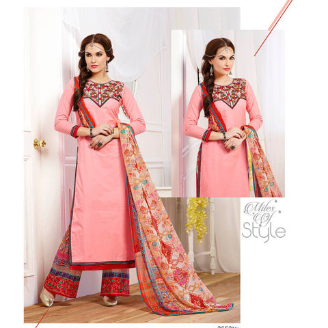 Straight long knee length pink designer semi stitched  salwar suits