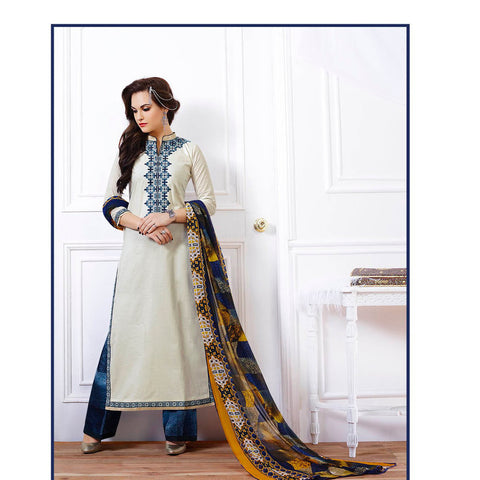 Designer white long knee length semi stitched salwar suits